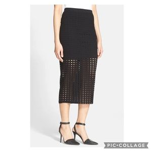 T by Alexander Wang Perforated Midi Skirt black